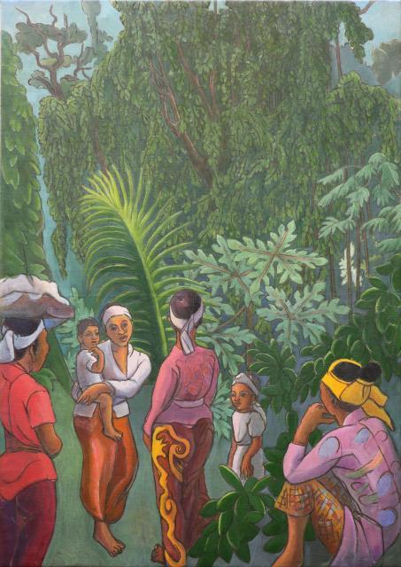 Bali. Femmes et enfants près d'un banyan