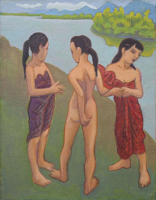 Laos - Trois fillettes au bord du fleuve