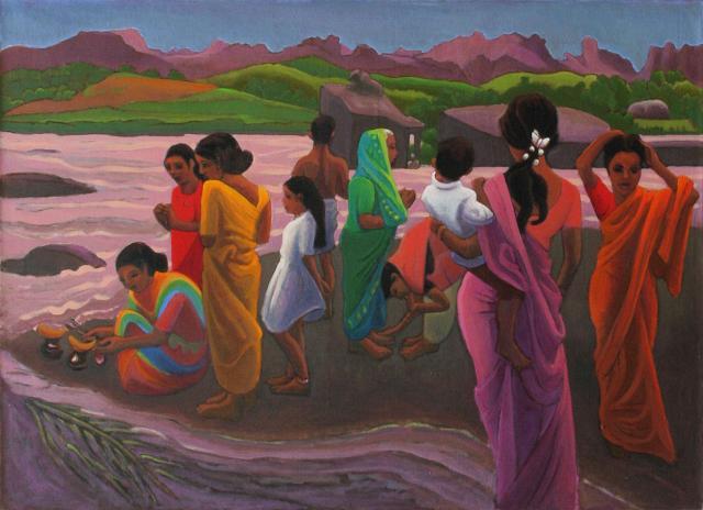 Hampi - Offrandes au bord de la rivière - 2