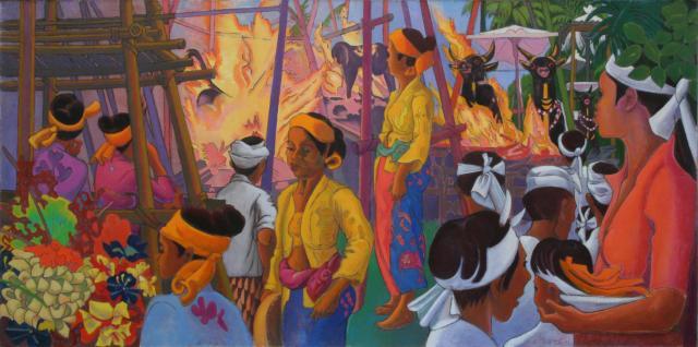Crémation à Bali. Sarcophages en flammes